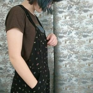 Cute black butterfly print overalls